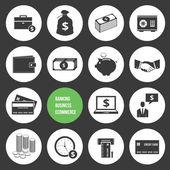 矢量商务电子商务银行业务和财务的钱的图标集 — 图库矢量图片