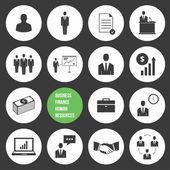 Vektorové řízení podniku a lidských zdrojů ikony — Stock vektor