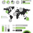 Vector Infographic Elements Set Green — Stok Vektör