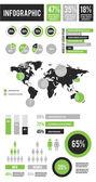 Vector Infographic Elements Set Green — Stock Vector