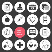 Vector geneeskunde gezondheid en drugs icons set — Stockvector