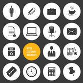 Vector kantoorbenodigdheden en documenten pictogrammen instellen — Stockvector