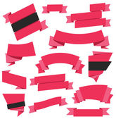 Vector Ribbons Set Red — Stock Vector