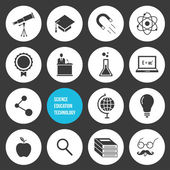 Vector Science Education and Technology Icons Set — Vecteur