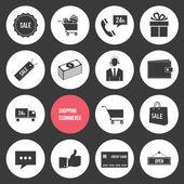 Vector winkelen en e-commerce pictogrammen instellen — Stockvector