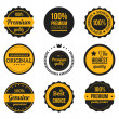 Stock Vector: Vector Retro Vintage Badges and Labels Yellow