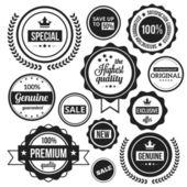 διάνυσμα εμβλήματα και τα αυτοκόλλητα ένσημα — Διανυσματικό Αρχείο