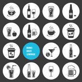 Vector conjunto de iconos de bebidas — Vector de stock