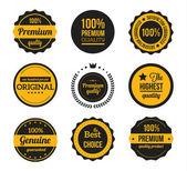 Vektör retro vintage rozetleri ve etiketler sarı — Stok Vektör