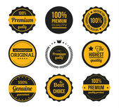 Wektor retro starodawny odznaki i żółte etykiety — Wektor stockowy