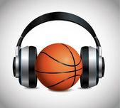 Basketball And Headphones — Stock Vector