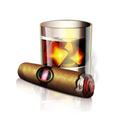 Cigar And Whiskey Icon — Stock Vector