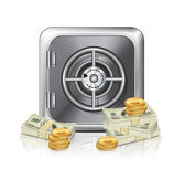 Safe Icon With Money — Stock Vector