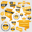 Set of Discount Sale Concept Labels and Stickers Yellow — Stock Vector