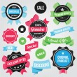 Vector Badges Stickers and Ribbons Set Colorful — Imagens vectoriais em stock