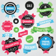 Vector Badges Stickers and Ribbons Set Colorful — Stock Vector