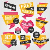 Etichette e distintivi di vendita premium vettoriale — Vettoriale Stock