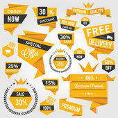 Set of Discount Sale Concept Labels and Stickers Yellow — Stockvector