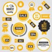 Vector divisas etiquetas y calcomanías conjunto amarillos — Vector de stock