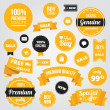 Vector de stock : Vector Stylish Labels Badges Stickers and Ribbons Set Yellow