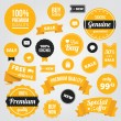 Vector Stylish Labels Badges Stickers and Ribbons Set Yellow — Stok Vektör #31880041