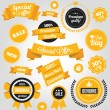 Vector Stickers Labels and Badges Set Yellow — Stock Vector