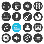 Vector Sound Media and Technology Icons — Stock Vector