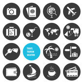 Vector Travel and Tourism Icons Set — Vector de stock