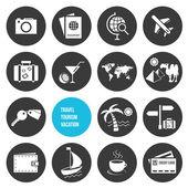 Vektorové ikony nastavit cestování a cestovní ruch — Stock vektor