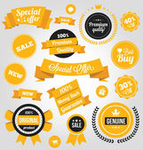Vector Stickers Labels and Badges Set Yellow — Vector de stock