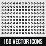 150 uniwersalny wektorowe ikony dla telefonów komórkowych i sieci — Wektor stockowy