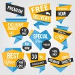 Wektor stockowy : Premium Vector Sale Badges and Labels Blue Yellow