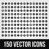 150 のモバイルのための普遍的なベクトルのアイコンと web — ストックベクタ