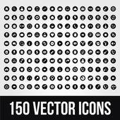 150 univerzální vektorové ikony pro mobilní a web — Stock vektor