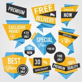 Premium vektör satış rozetleri ve etiketler sarı mavi — Stok Vektör