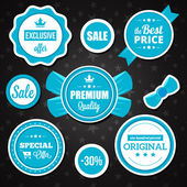 Vector Holiday Sale Badges Stickers and Labels Blue — Cтоковый вектор