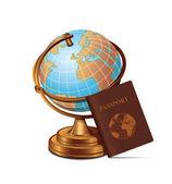 Globe Passport Travel Icon — Stock Vector