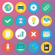 Stok Vektör: Trendy Premium Flat Icons for Web and Mobile Applications Set 2
