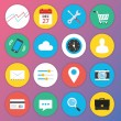 Cтоковый вектор: Trendy Premium Flat Icons for Web and Mobile Applications Set 1