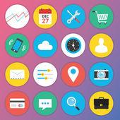 Web およびモバイル アプリケーションのトレンディなプレミアム フラット アイコン セット 1 — ストックベクタ