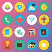 Web およびモバイル アプリケーションのトレンディなプレミアム フラット アイコン セット 3 — ストックベクタ