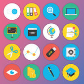 Trendy Premium Flat Icons for Web and Mobile Applications Set 4 — Stok Vektör