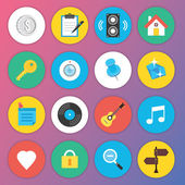 Trendy Premium Flat Icons for Web and Mobile Applications Set 5 — Stok Vektör