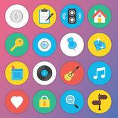 Web およびモバイル アプリケーションのためのトレンディなプレミアム フラット アイコン セット 5 — ストックベクタ