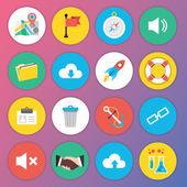 Web およびモバイル アプリケーションのためのトレンディなプレミアム フラット アイコン セット 6 — ストックベクタ