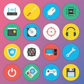 Web およびモバイル アプリケーションのトレンディなプレミアム フラット アイコン セット 7 特別なハードウェア セットします。 — ストックベクタ