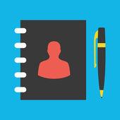 Vector Address Book and Pen Icon — Stock Vector