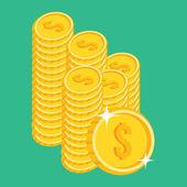 Vector Gold Coins Icon — Stock Vector