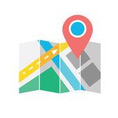 Mapa wektor z etykieta ikona — Wektor stockowy