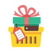 Vector Shopping Cart with Gift and Tag Icon — Stock Vector